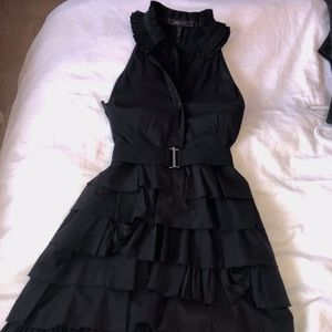 BCBG Black Frilled Midi Dress (Size 6)